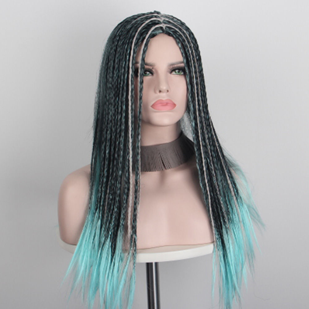 Middle Shoulder Length Wigs for Black Women Braided Cosplay Wig Anime Hairs Synthetic Wigs with no Bangs Halloween Costumes