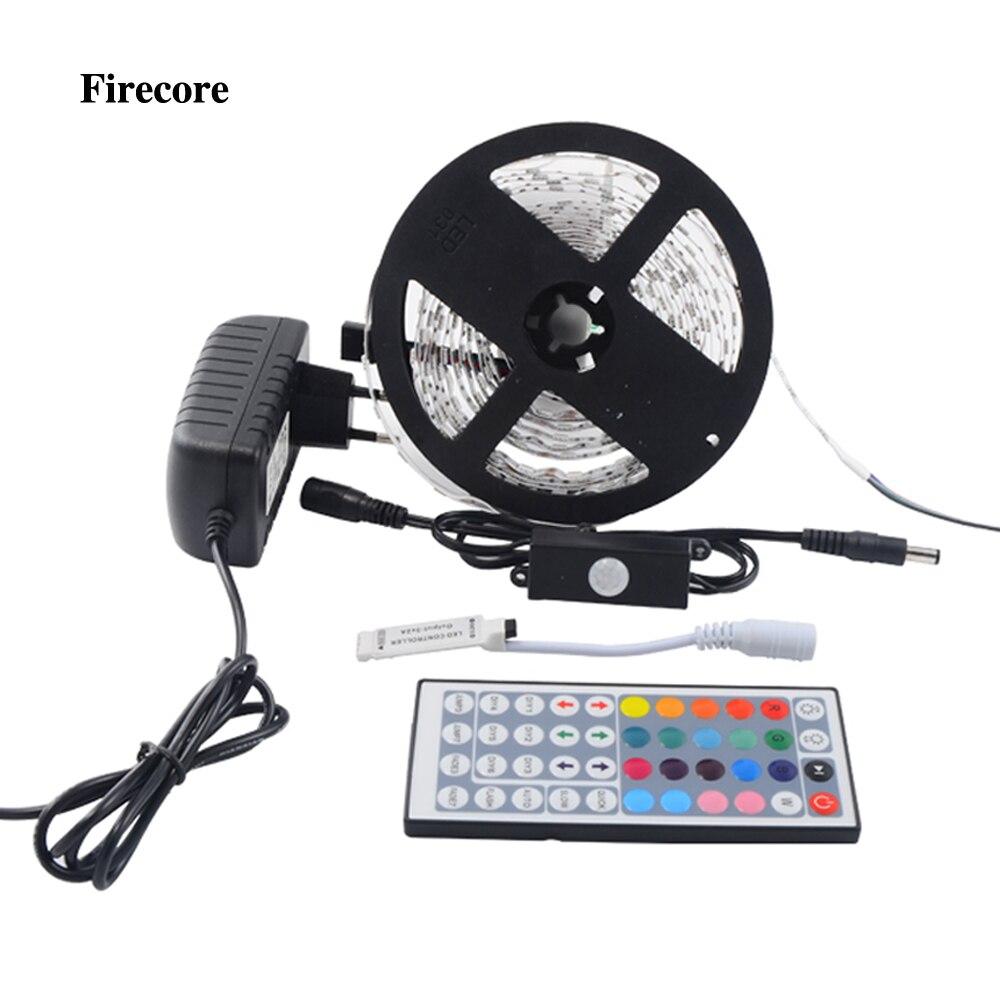 Firecore 5 M 5050 RGB Étanche Flexible Led Bande SMD 150/300 Led Lumière + PIR Auto Motion Sensor Commutateur + 12 V 2A Puissance + Contrôleur