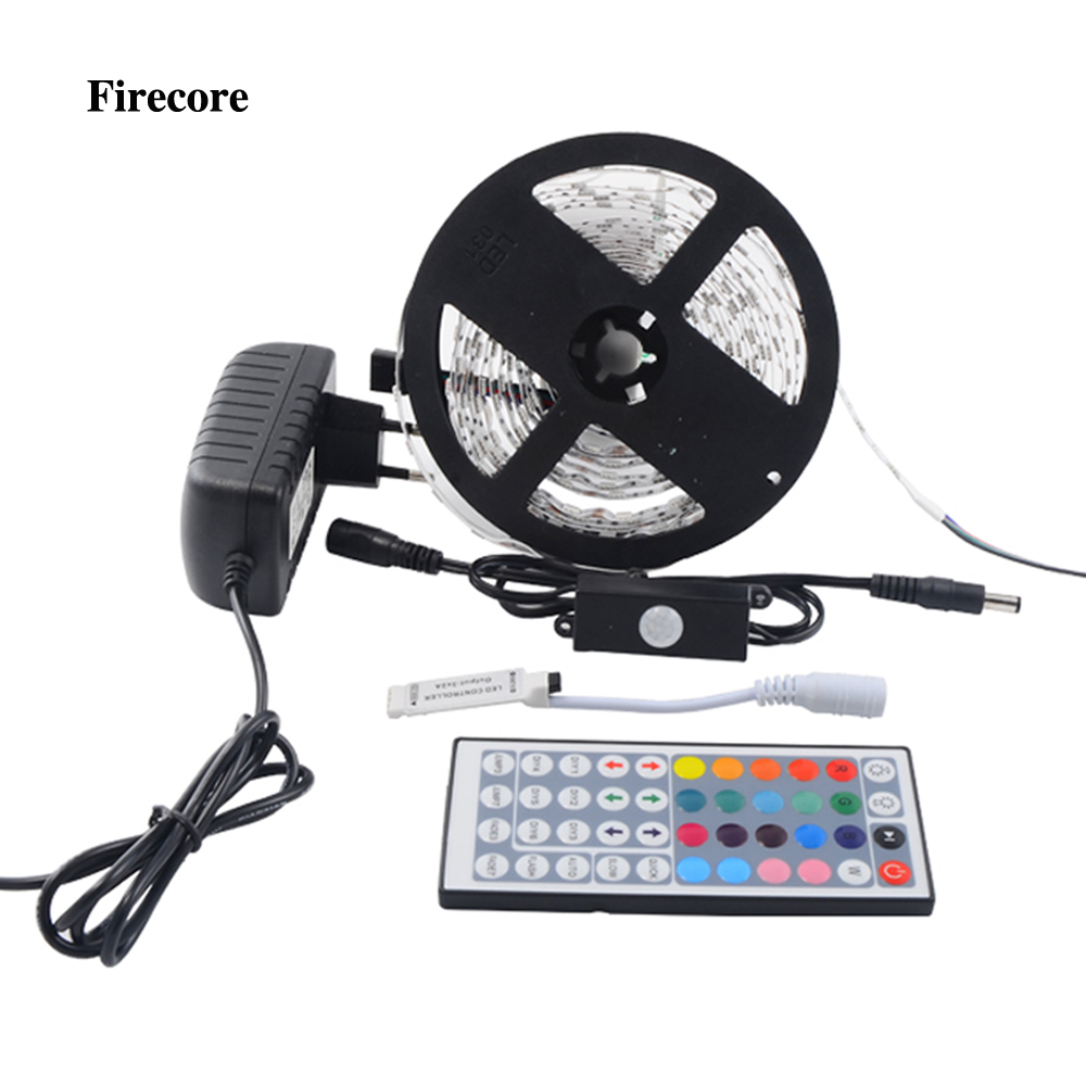 Firecore 5M 5050 RGB Waterproof Flexible Led Strip SMD 150/300 Leds Light+PIR Auto Motion Sensor Switch +12V 2A Power+Controller