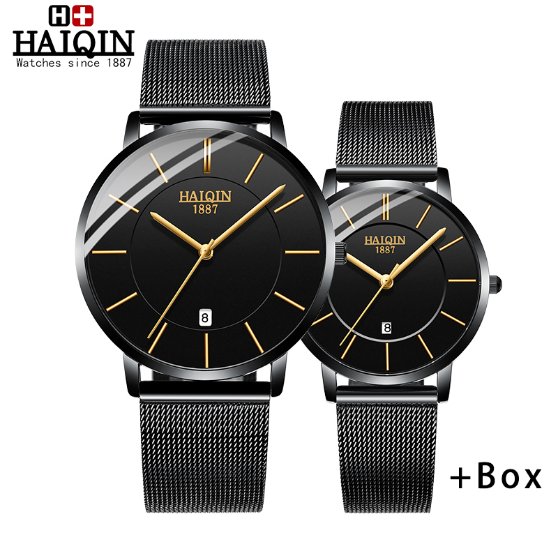 HAIQIN WoMens Watches Top Brand Luxury Clock Ladies Wrist Watch Lady Dress Mesh Stainless Reloj De Dama 2019 New Women's Watches