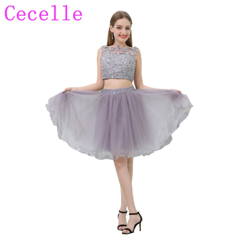 Lilac Tulle Skirt Lace Top 2 Pieces   Cocktail     Dresses   2019 Beaded Sleeveless Two Pieces Informal Seniors   Cocktail   Party Robes