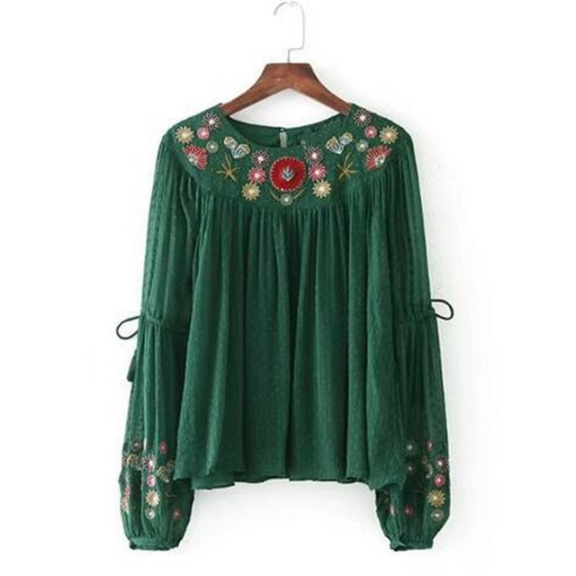3af6388f1bba32 Bohemian floral embroidery blouse women tops Ethnic retro shirt women shirts  female vintage pleated vintage boho shirts blouses
