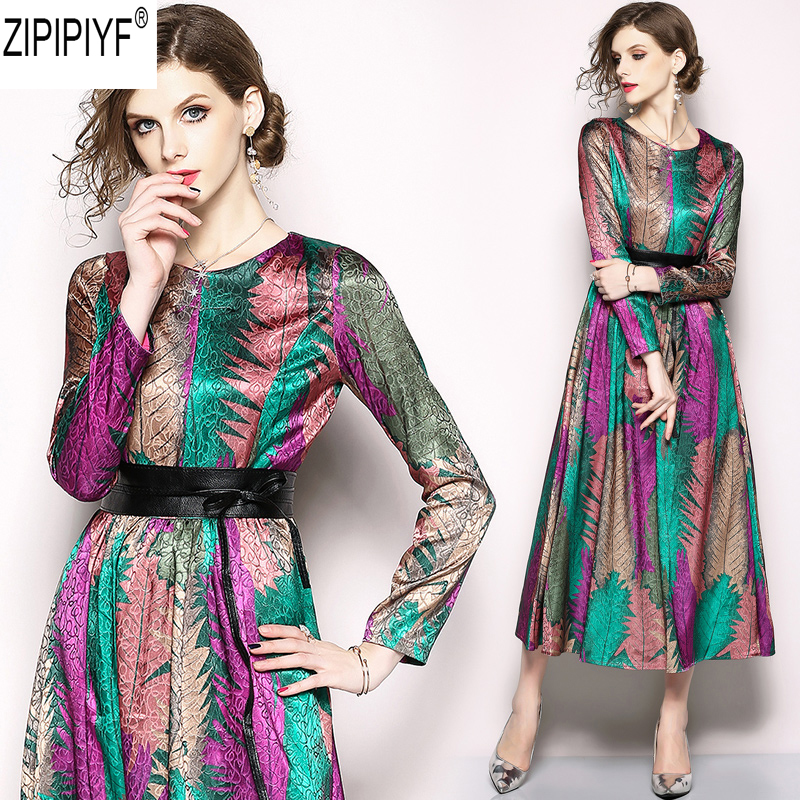 2018 New Spring Summer Fashion Casual Women Dress Print Striped O Neck Long Sleeve Dress Vintage High Waist Mid-Calf Dress C1222