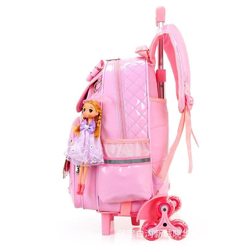 Venta caliente niñas princesa estilo 3 ruedas mochila escuela bolsa set 2019 nuevo impermeable PU cuero carretilla escuela bolso chica mochila - 2