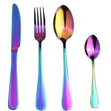 KTL 24 Pieces Colorful Stainless Steel Dinnerware Set Western Rainbow Cutlery Tableware Fork Knife Teaspoon Wedding Cutlery Set