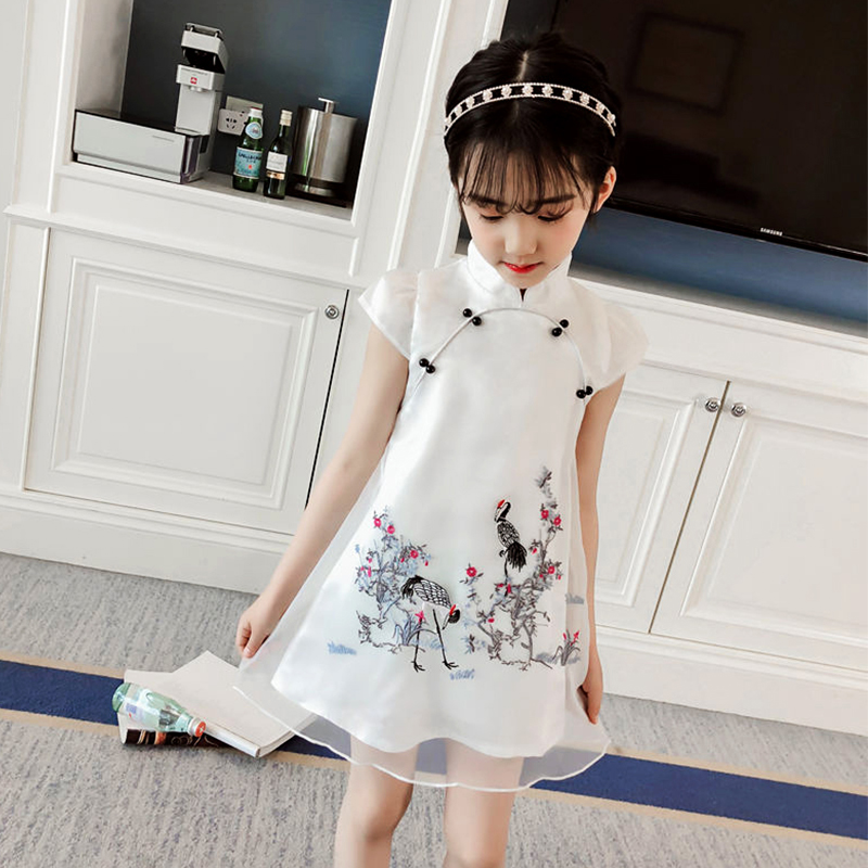 Children qipao dress traditional chinese dress flower girls cheongsam for kids princess crane print mesh turtleneck clothes 2019