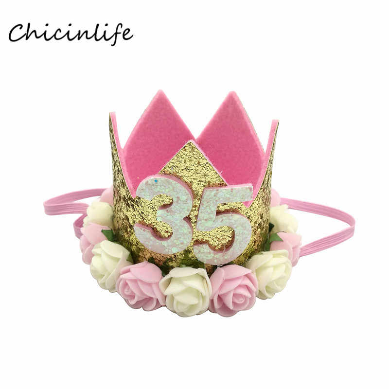 Chicinlife 1pcs 35 Year Old Birthday Hat White Pink Flower Crown Headband Adlut Party Decoration