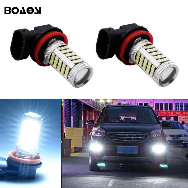 BOAOSI 2x Car Led H11 2835 66SMD Light Bulb Auto Fog Light Driving Lamp Light For Renault Megane Fluence Koleos Latitude 1pcs 4d led rear emblem car logo light for renault koleos megane latitude fluence car led badge bulb car styling