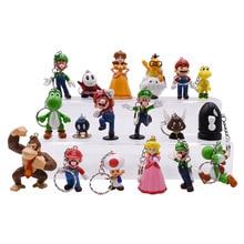 Anime Super Mario Keychain Set Peach Donkey Kong Yoshi Luigi Toad PVC Action Figure Doll Collectible Model Toy Gift for Kids цена