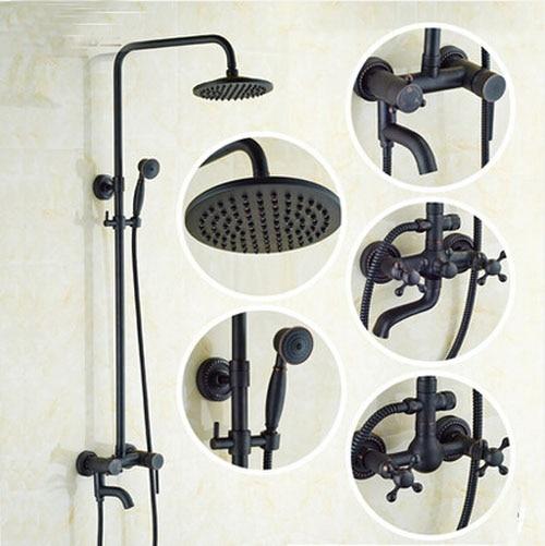 Bath Rainfall Shower Faucet Oil Rubbed Bronze Wall Mount Bathtub Shower Set With Hand Sprayer Mixer Tap
