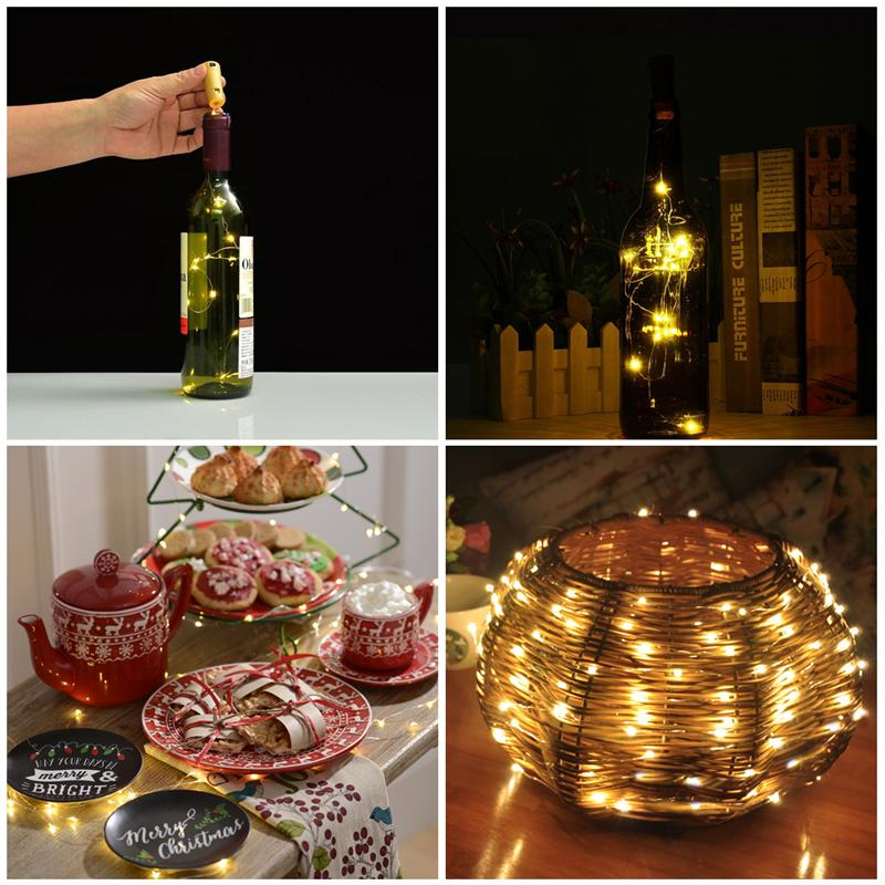 12pcs Led String Light Copper Wire Cork Shape Light Starry Light for Christmas New Year Wedding Party