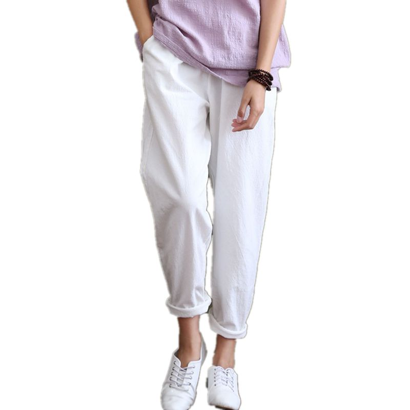 Woman Pants Trousers Casual Cotton Linen Elastic Waist
