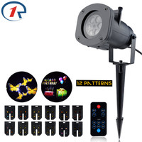 ZjRight IR Remote Outdoor Waterproof LED Lights 12 Pattern Projection Effect Light Birthday Xmas Halloween Party