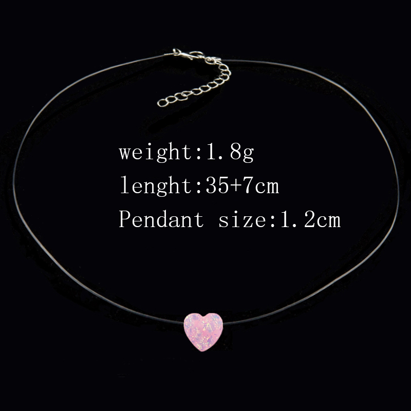 Female Transparent Fishing Line Necklace Invisible Chain Small Love Necklace Women Resin Heart Choker Necklace Collier Femme