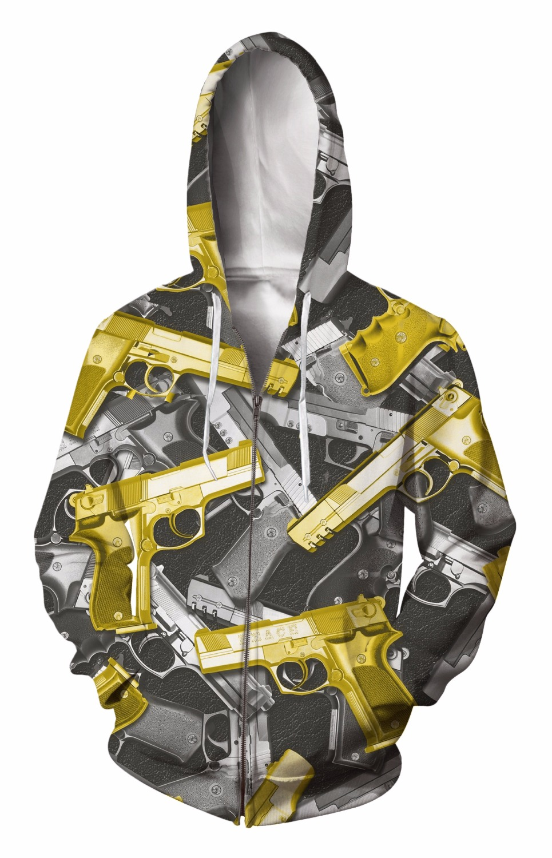 Zip-Up Hoodie 3d Print Soft Pistol bullets Clothing Women Men Tops Hooded Casual Zipper Sweatshirt Outfits Coats Sweat factory