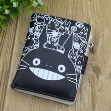 Soft Pu Leather Kids Cartoon Wallets CuteTotoro Anime unisex men women wallets cat Kumamon purse female(China)