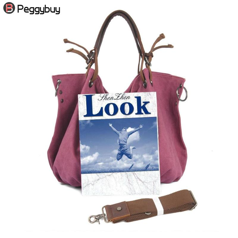 46 X 36 X 17cm Retro Women Shoulder Bag with Strap Canvas Travel Hobo Big Capacity Casual Totes Handbags Bolsa Feminina