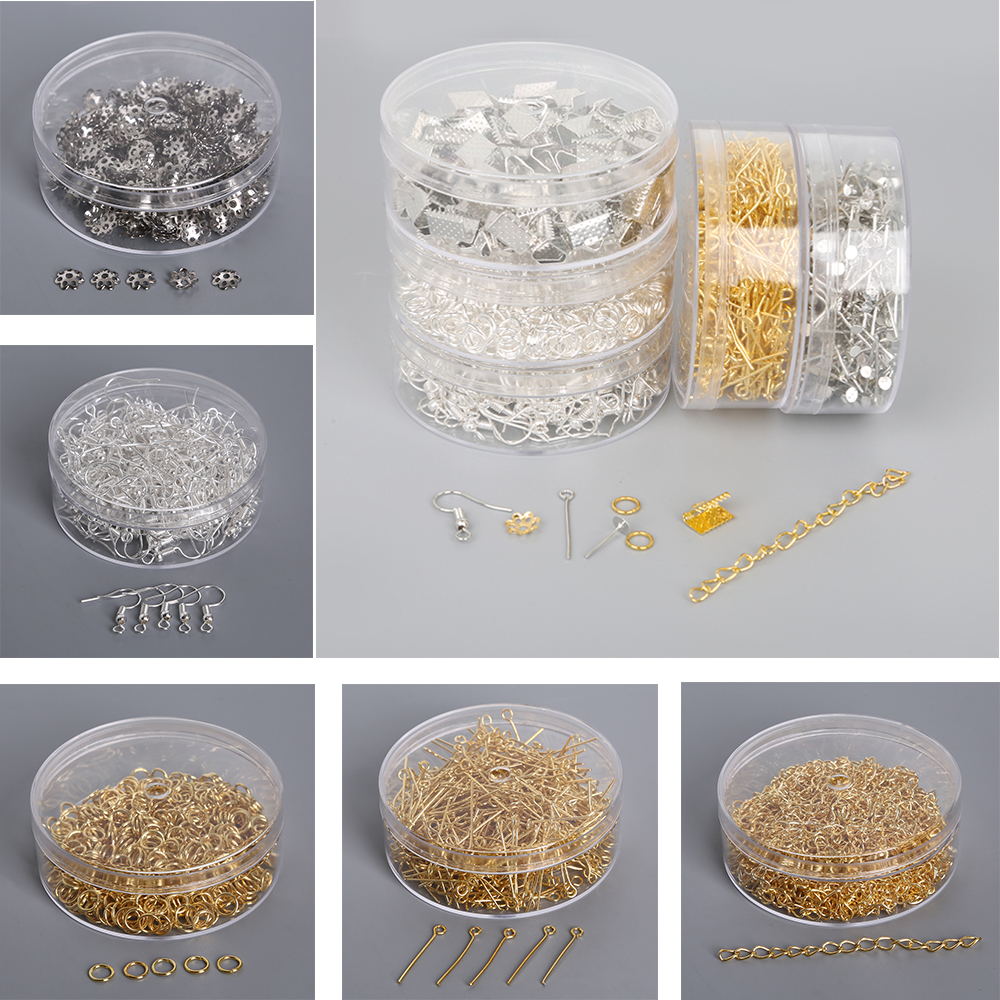 Jewelry Findings Kits Earring Hooks Needles Pins Jump Ring Crimp Beads End Caps Extend Chains For DIY Jewelry Making Supplies