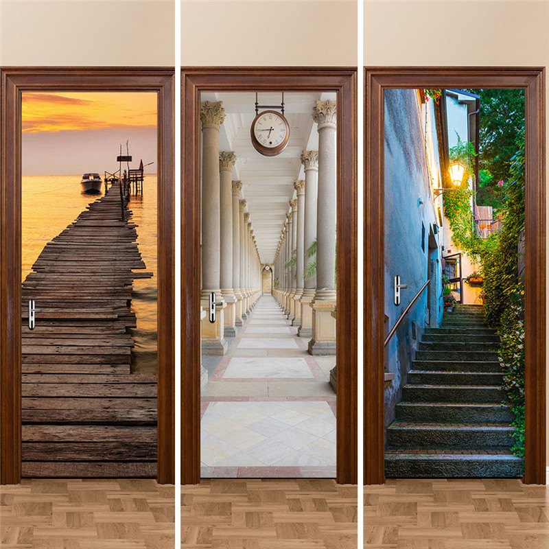 3d door stickers 2pcs set 200 77cm decals self adhesive for Door mural stickers