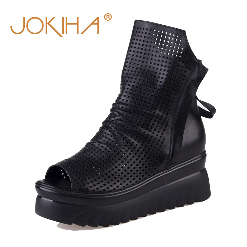Summer Women s Ankle Platform Boots Cow Leather High Quality Boots Woman Sexy Peep Toe Flat