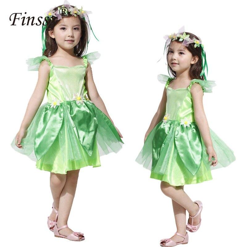 Halloween Costume Cosplay Verde Foglia Fata Elfi Vestiti di Prestazione Molto Perfetto Regalo Per I Bambini