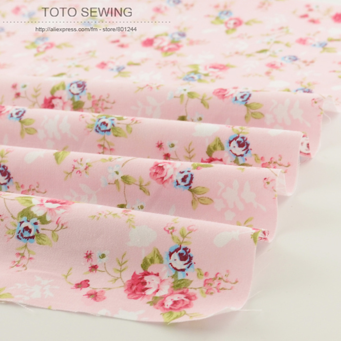New pink printed floral patterns 50cmx160cm/piece cotton fabric quilting home textile factory direct fabric free shipping