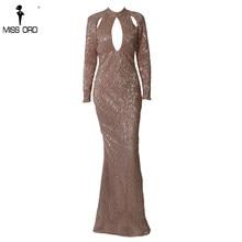 Missord 2018 Mulheres Sexy Alta Long Neck Sleeve Oco Out Vestidos Femininos  Partido Sequin Vestido Maxi Elegante FT18715-2 Vestd. 6f8a7b377620