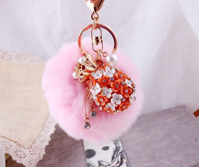 8 см супер круглый сплава цветок брелок имитация волос кролика плюша шерсти пом англичане бал-оберточной сумка автомобиль украшения подвеска брелок розовый