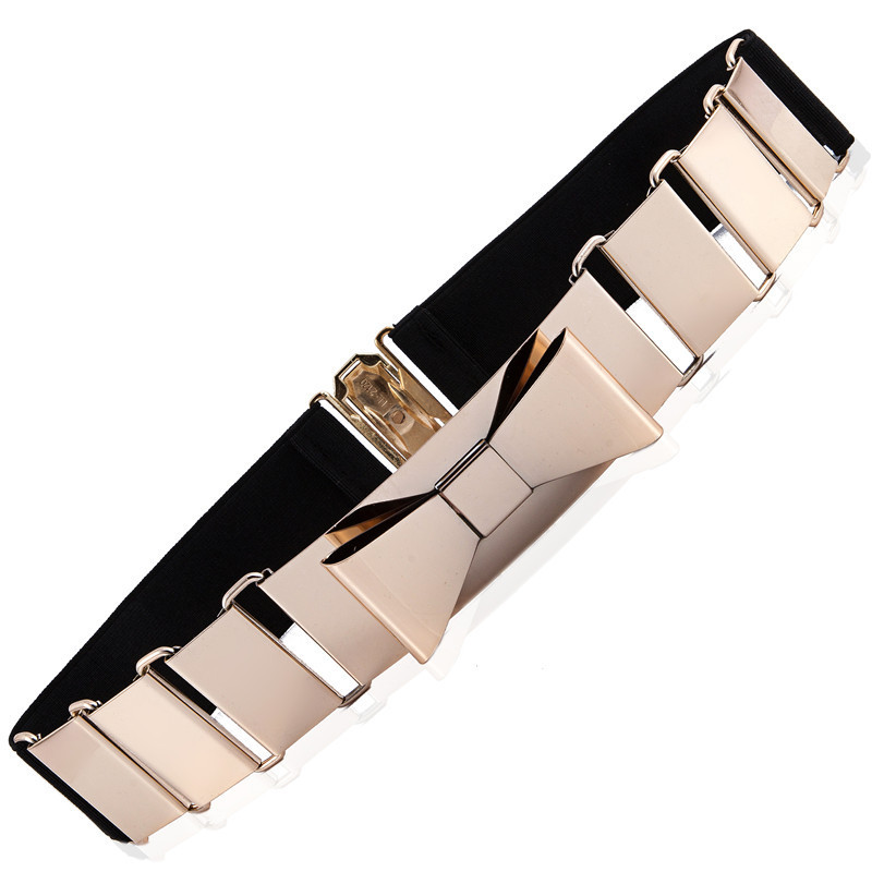 Most Popular Women's Belt Cut Out Gold Metal BOW Belt With Multi Elastic Good Quality Hook Closure Belt For Women Luxury Strap