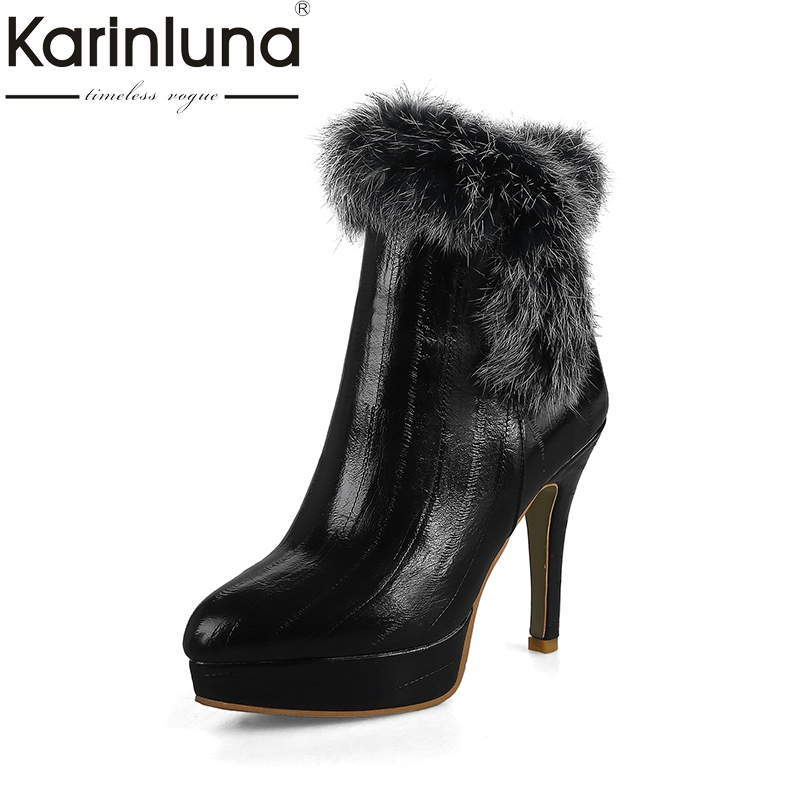 KARINLUNA size 32-46 brand shoes woman top quality platform thin high heels ankle boots women winter shoes party rabbit fur fedonas top quality winter ankle boots women platform high heels genuine leather shoes woman warm plush snow motorcycle boots