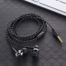 High Quality Wired Earphone Brand New Stereo In-Ear 3.5mm Nylon Weave Cable Earphone Headset With Mic For Laptop Smartphone &(China)