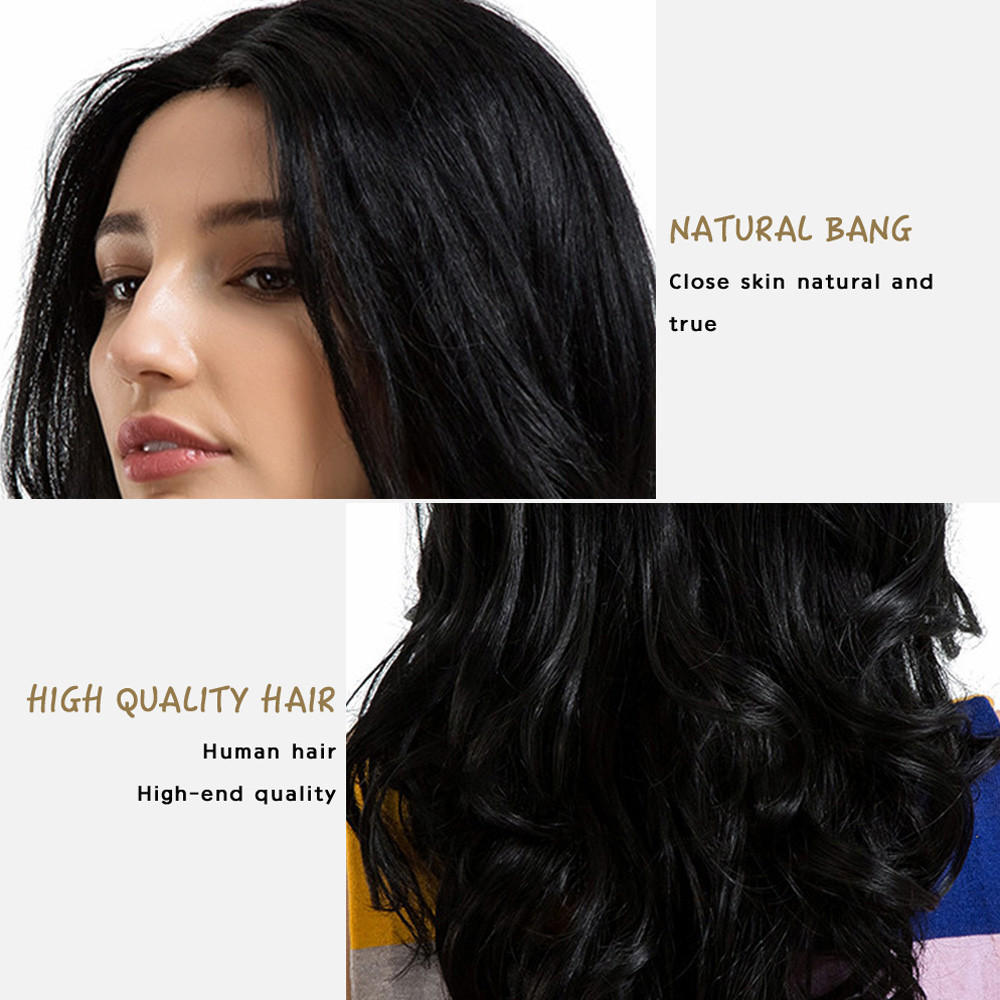 New Fashion Black Middle Parting Long Curly Lace Hair fashion Wave Human Hair Female Wigs 2018