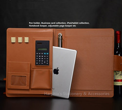 Office business a4 pu leather manager document bag with calculator note.jpg 250x250