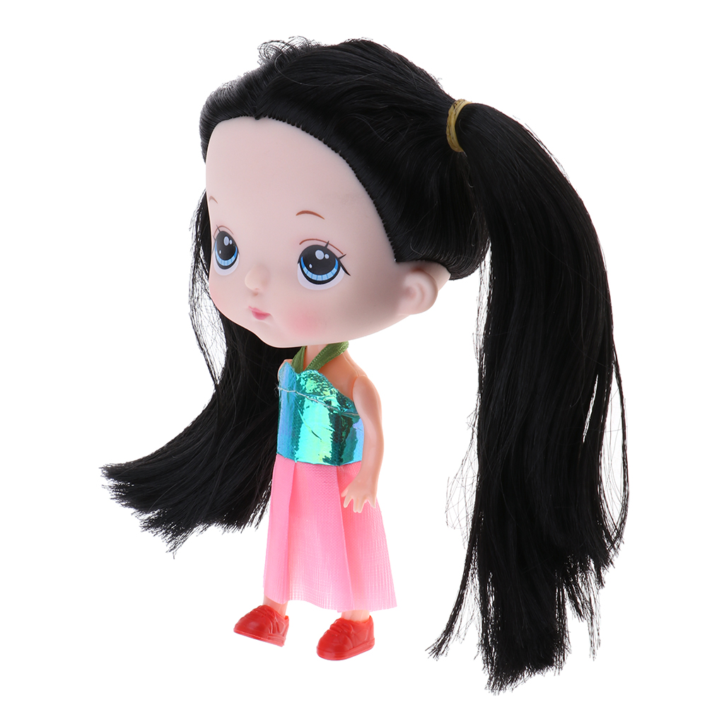 14cm Fashion Big Head Princess Girl Doll with Black Hair Toys Kids Gift