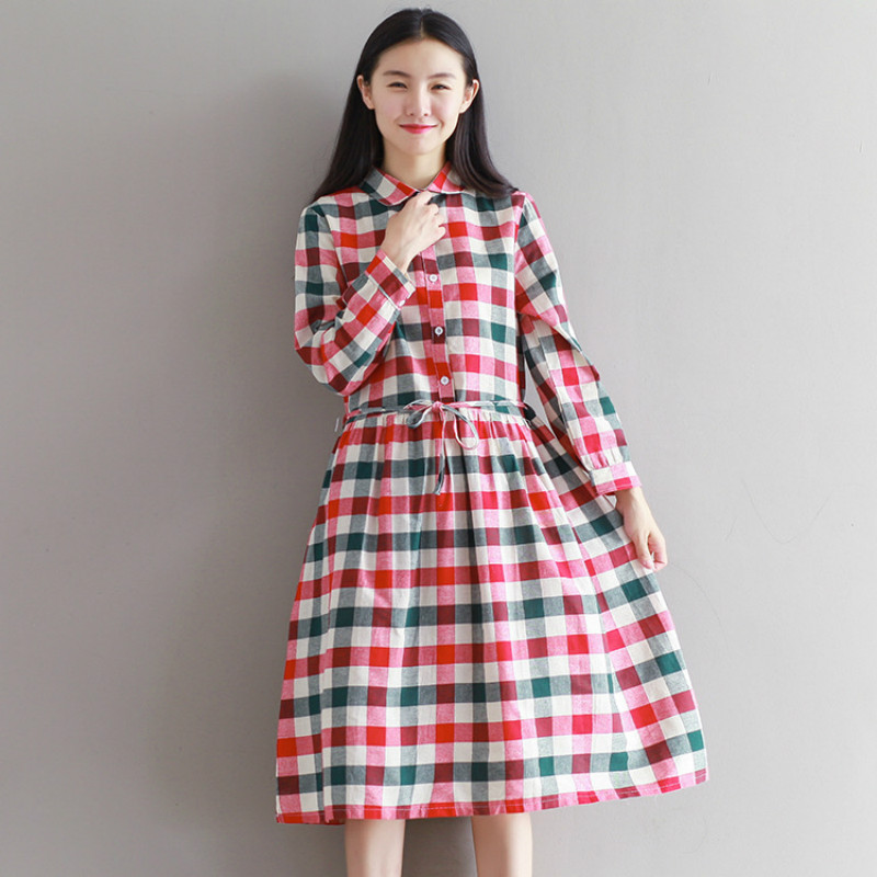 443ac7fa559 New Loose Casual Maternity Dresses Fall Spring Pregnancy Clothes for  Pregnant Women Plus Size Plaid Maternity Dress CE329