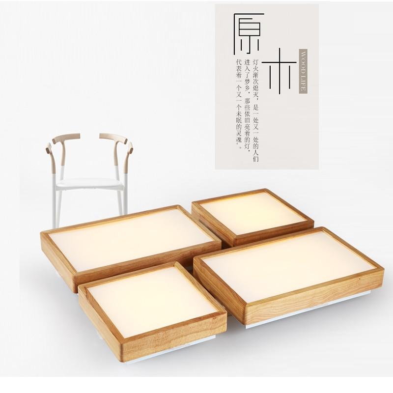 Moderní krátký obdélník akrylové led stropní svítidlo japonský domov deco obývací pokoj dřevěné stropní svítidlo 110-240V