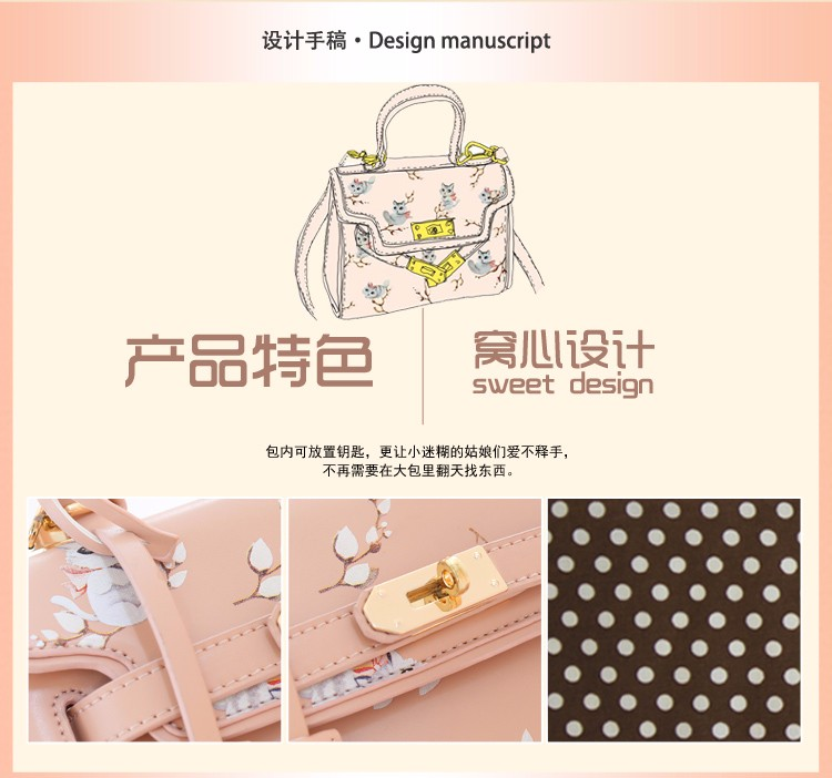 x2 New Sale Bolsas Mujer Small Peekaboo Saddle Faux Leather PU Pink Cat Floral Women\'s Handbags For Lady  Messenger Bags Totes