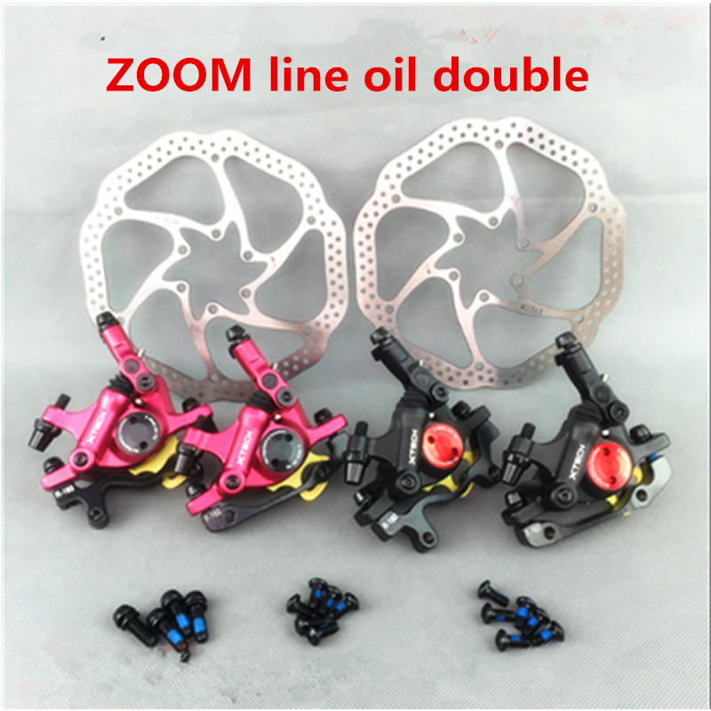 ZOOM MTB Road Line Pulling Hydraulic Disc Brake Calipers Front & Rear HIMALO juin tech r1 bicycle disc brake caliper mtb line pull hydraulic brake set xc road mountain bike rotors 160 mm front rear disco