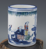Exquisite Chinese Classical Porcelain Archaistic Pen Holder Painted With Folk Characters