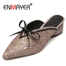 ENMAYER Bowtie Women Med heels Sandals Bling Shoes women Sequined Ladies Mules Thick Pointed toe Gold Silver sapato CR251