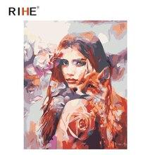 RIHE Charm Girl Diy Oil Painting By Numbers Fox Cuadros Decoracion Dreamy Acrylic Paint On Canvas For Artwork Modern Home Decor