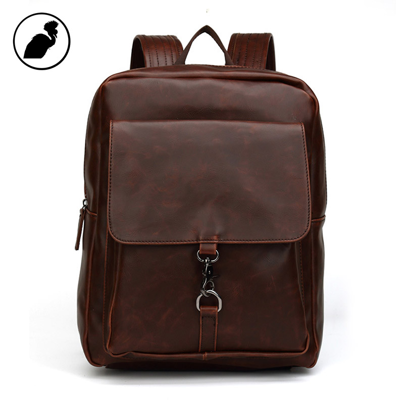 ETONWEAG Famous Brands Leather Backpack Women Luxury Vintage School Bags For Teenagers Brown Travel Laptop Bag Back To School