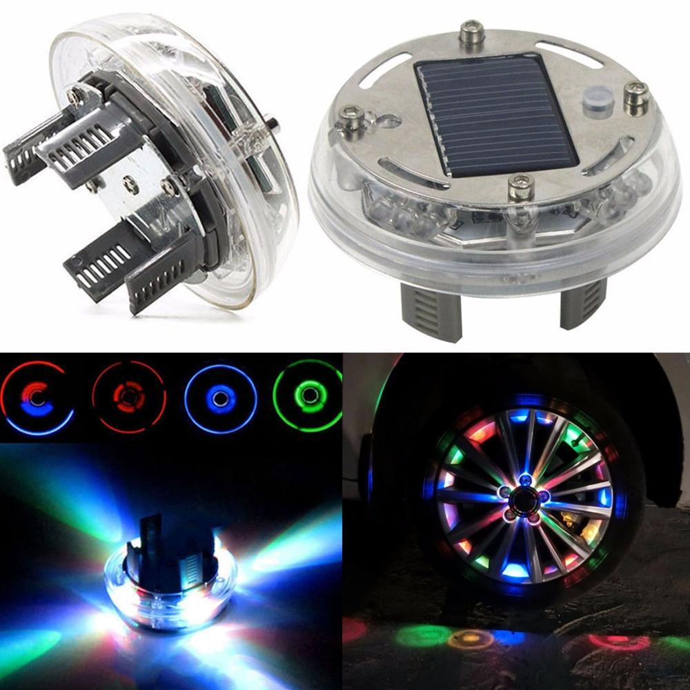 1шт 4 режим 12 светодиодный Автомобильный Автоматический солнечной энергии вспышки колесо шина крышки свет лампы украшения автомобиля света RGB СИД Крышка колеса Шины диски