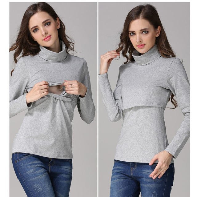 9ad6d3275 Autumn Winter Maternity Clothes Nursing T Shirts For Pregnant Women Long  Sleeve Turtlenecks Breastfeeding Tops