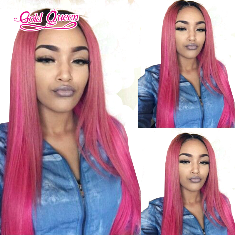 Hot Peruvian Ombre Straight Hair Pink Human Hair Wig