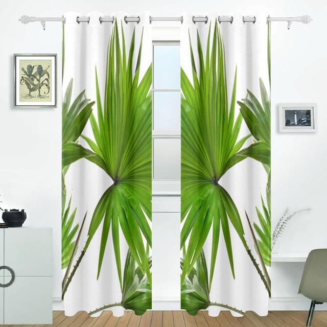 Palm Trees Leaf Curtains Drapes Panels Darkening Blackout Grommet Room  Divider For Patio Window Sliding Glass