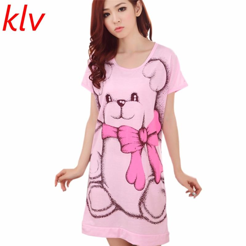 2017 Summer Women's Nightgowns Sleeveless Short-sleeve Dress Cute Girls Sleepwear Cartoon Bear Printed Sleepwear Free Shipping