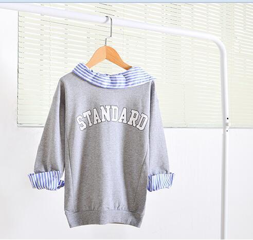 2016 зима и осень письмо детские пуловеры рубашка одежда девушки от имени версии большие дети девушки воротник