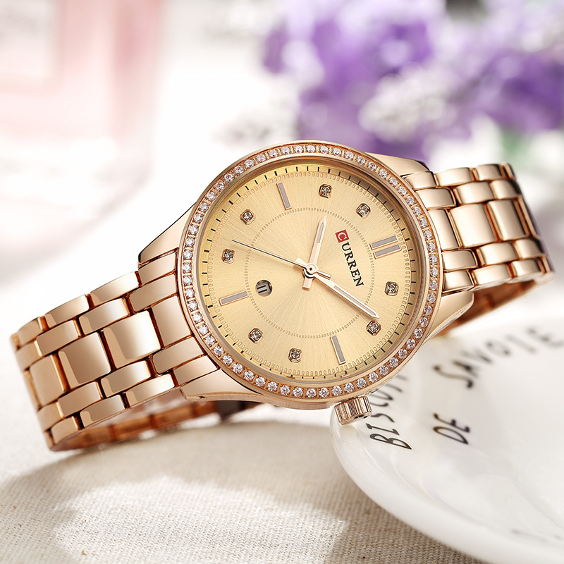 CURREN Stainless Steel Woman Watch 2019 Brand Luxury Rose Gold Women's Watch With Metal Bracelet Lady Wrist Watch With Date(China)