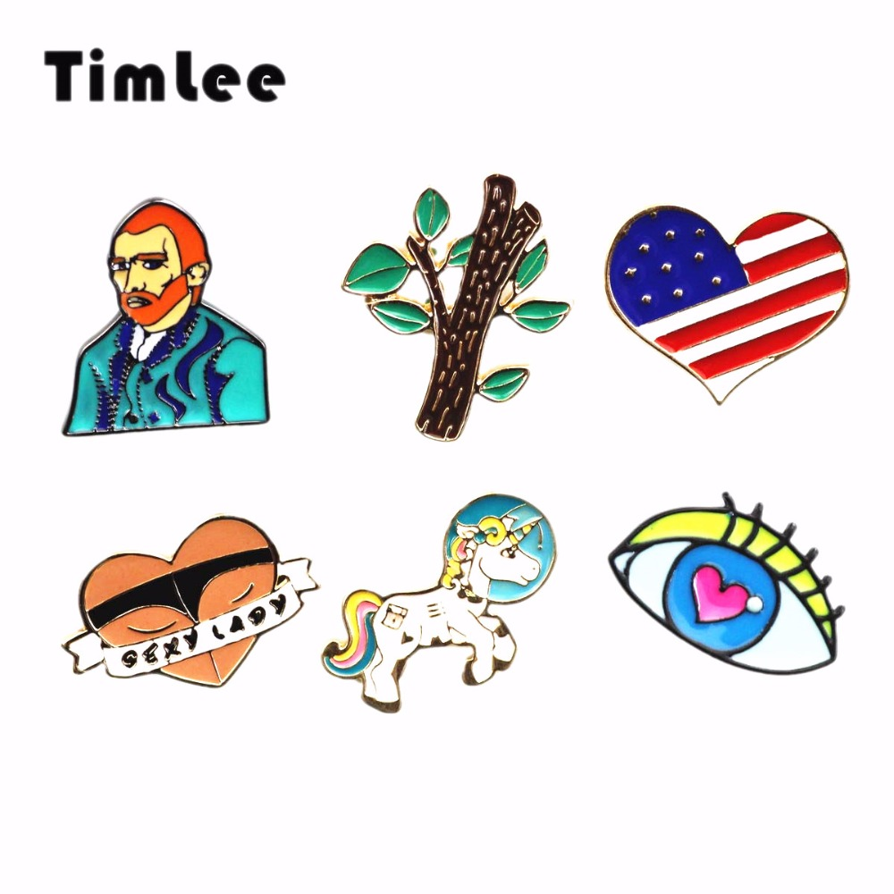 Timlee X303 Cute Van Gogh Heart Flag Tree Astronaut Rainbow Unicorn Pin-lisäykset Eyes Metal Brooch Pins, Fashion Jewelry Wholesale